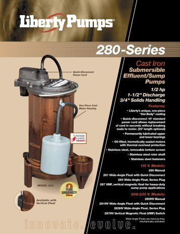 280-SERIES 1/2 hp Submersible Effluent/Sump ... - Pump Express