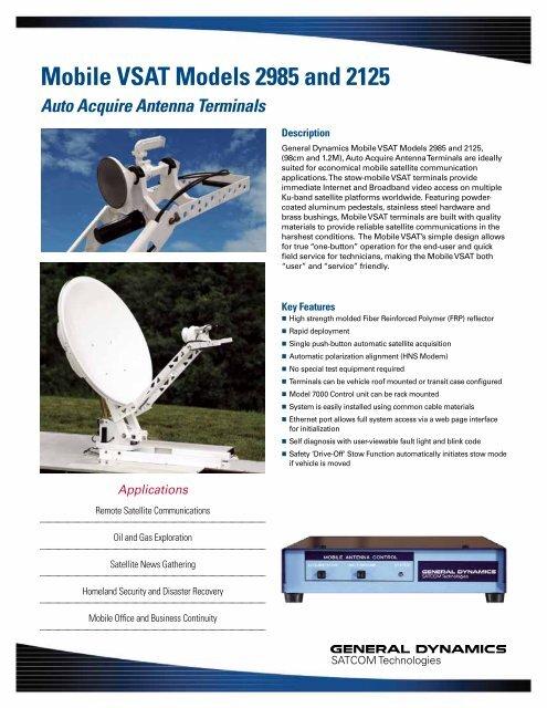 Mobile VSAT Models 2985 and 2125 - General Dynamics SATCOM ...