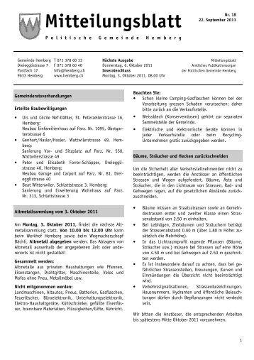 Aktuelles Mitteilungsblatt [PDF, 183 KB] - Gemeinde Hemberg