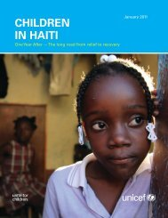 Children in Haiti: One year after – the long road from relief to ... - Unicef