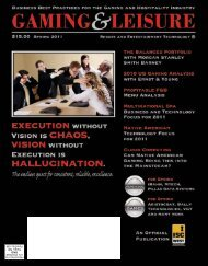 Spring 2011 Issue - Gaming & Leisure Magazine