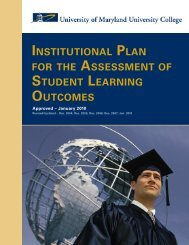 institutional plan for the assessment of student learning outcomes
