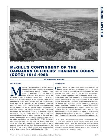 McgILL'S CONTINgENT OF THE CANADIAN OFFICERS' TRAININg ...
