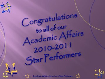 Academic Affairs 2010-2011Star Performer