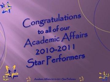 Academic Affairs 2010-2011Star Performer