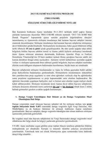 Sözleşme Belgeleri Açıklamaları - Batı Karadeniz Kalkınma Ajansı