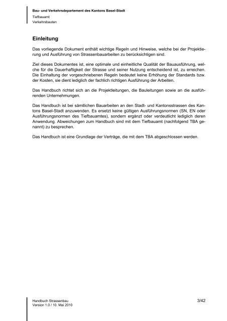 Oberbau und Auffüllung - Tiefbauamt - Basel-Stadt