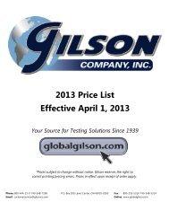 2013 Price List Effective April 1, 2013