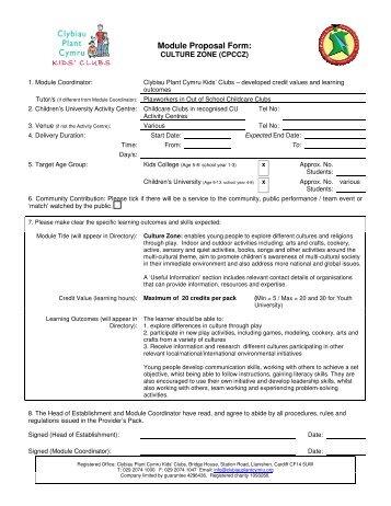 Module Proposal Form: - Clybiau Plant Cymru: Kid's Clubs