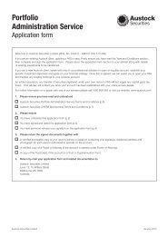 Portfolio Administration Service Application Form - Austock Group