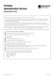 Portfolio Administration Service Application Form - Austock Group