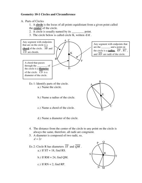 Geometry 10-1 Circles and Circumference A  Parts of Circles