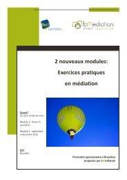 2 nouveaux modules: Exercices pratiques en médiation - BECI