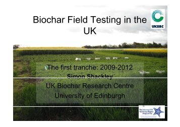 Biochar Field Testing in the Biochar Field Testing in the UK