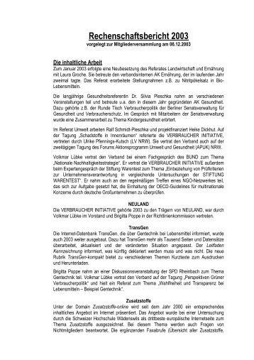 Rechenschaftsbericht 2003