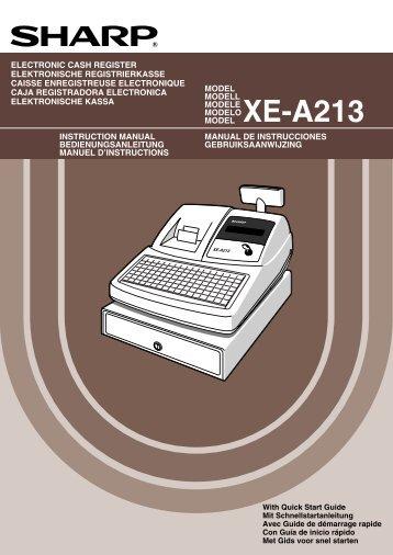 Uitgebreide handleiding SHARP XE-A213 - Kassa-Kassa