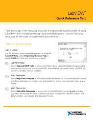LabVIEW Quick Reference Card - Cours