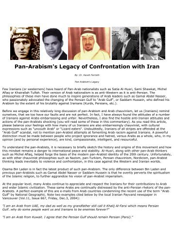 Pan-Arabism's Legacy of Confrontation with Iran - Kaveh Farrokh