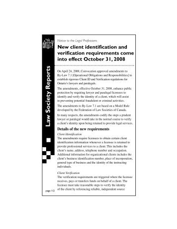New client identification and verification requirements come into ...