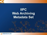 Metadata for Web Archiving - IWAW