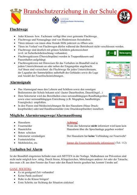 Verhalten im Brandfall - Theodor Heuss Schule