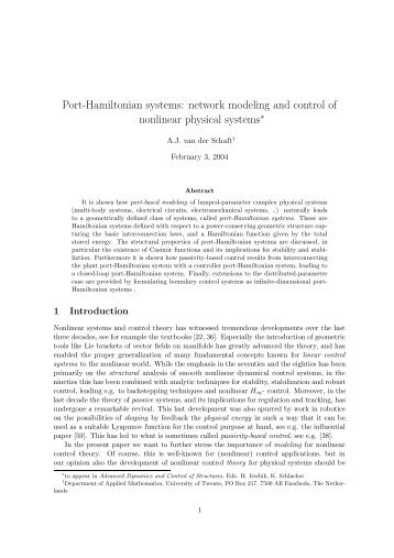 Port-Hamiltonian systems: network modeling and control of ...