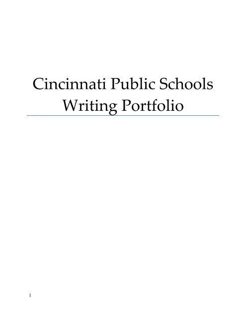 Cincinnati Public Schools Writing Portfolio Home Link