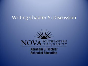 Applied Research Workshop Writing Chapter 5: Discussion - 1