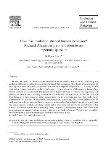 How has evolution shaped human behavior? Richard Alexander's ...