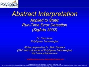Abstract Interpretation - SIGAda