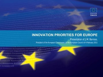 INNOVATION PRIORITIES FOR EUROPE - European Commission