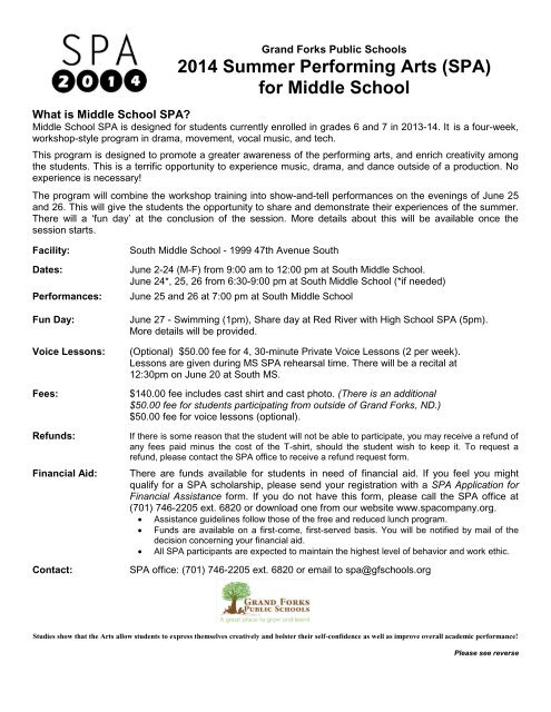 Middle School SPA 2013 schedule and registration form
