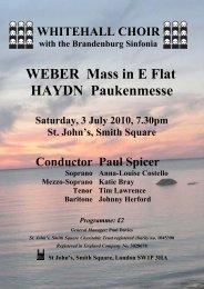 WEBER Mass in E Flat HAYDN Paukenmesse - Whitehall Choir