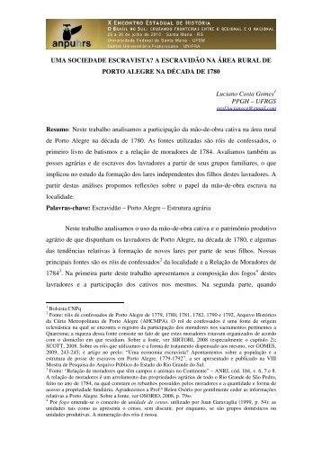 Luciano Costa Gomes - X Encontro Estadual de História – ANPUH-RS
