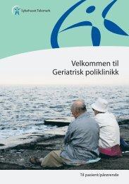 Geriatrisk Poliklinikk til pasient og pårørende - brosjyre - Sykehuset ...