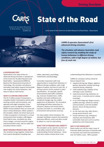 Simulator fact sheet - Centre for Accident Research and Road Safety ...