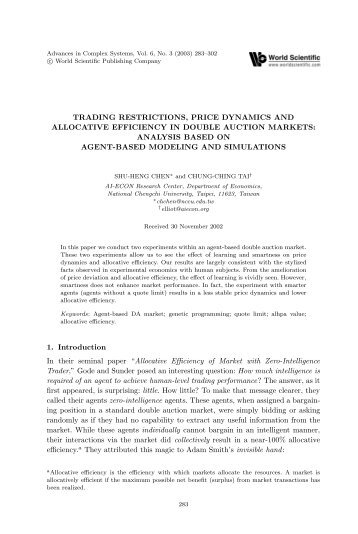 Trading Restrictions, Price Dynamics and Allocative Efficiency in ...