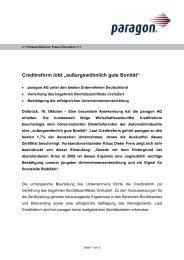 """Creditreform lobt """"außergewöhnlich gute Bonität"""" - paragon AG"""