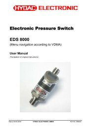 Electronic Pressure Switch EDS 8000 - HYDAC USA