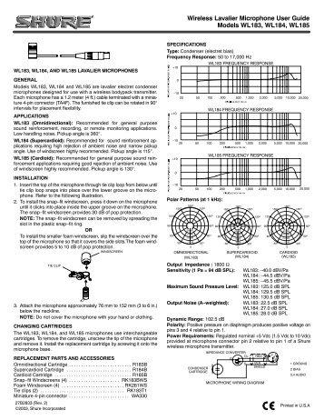 Wireless Lavalier Microphone User Guide Models WL183, WL184 ...