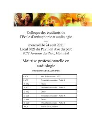 Maîtrise professionnelle en audiologie - École d'orthophonie et d ...