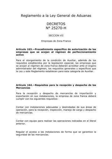 Reglamento a la Ley General de Aduanas DECRETOS ... - Procomer