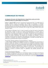 Ecobank applique les principes de l'Equateur à ses activités ...