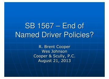 SB 1567 – End of Named Driver Policies? - Cooper & Scully, PC