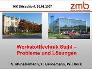 Werkstofftechnik Stahl – Probleme und Lösungen - zmb