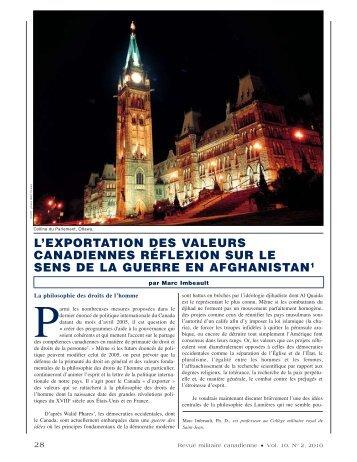l'exportation des valeurs canadiennes réflexion sur le sens de la ...