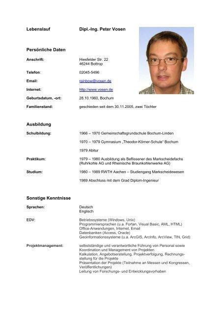 Lebenslauf Dipl Ing Peter Vosen Persönliche Daten Ausbildung