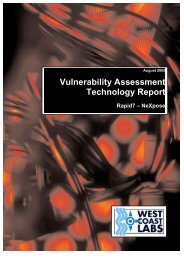 Vulnerability Assessment Technology Report - West Coast Labs