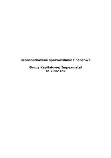Skonsolidowane sprawozdanie finansowe Grupy ... - Bankier.pl