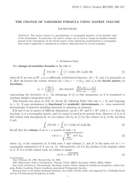 The Change of Variables Formula using Matrix Volume